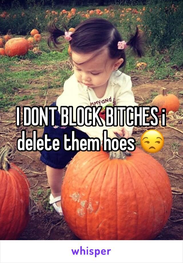 I DONT BLOCK BITCHES i delete them hoes 😒