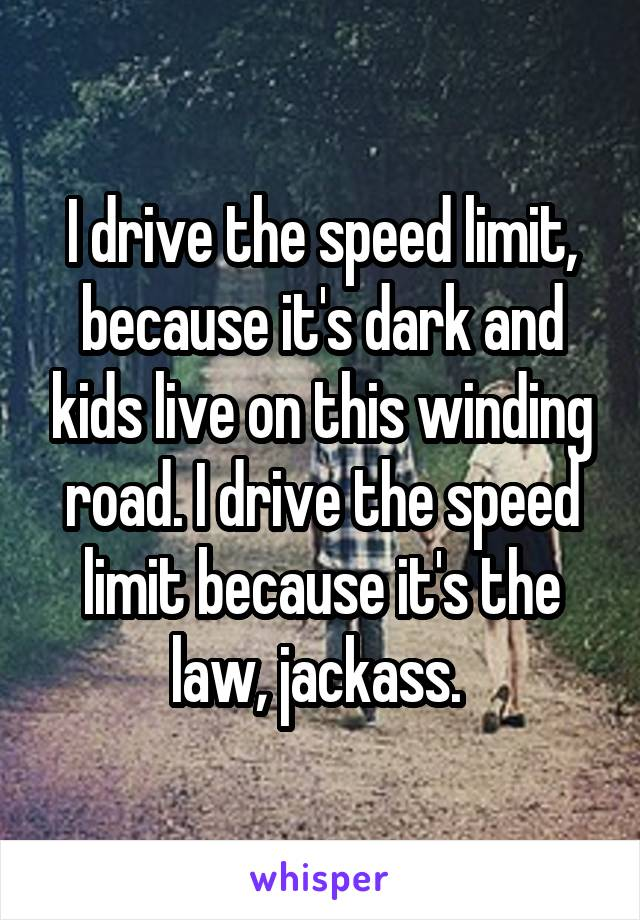 I drive the speed limit, because it's dark and kids live on this winding road. I drive the speed limit because it's the law, jackass.