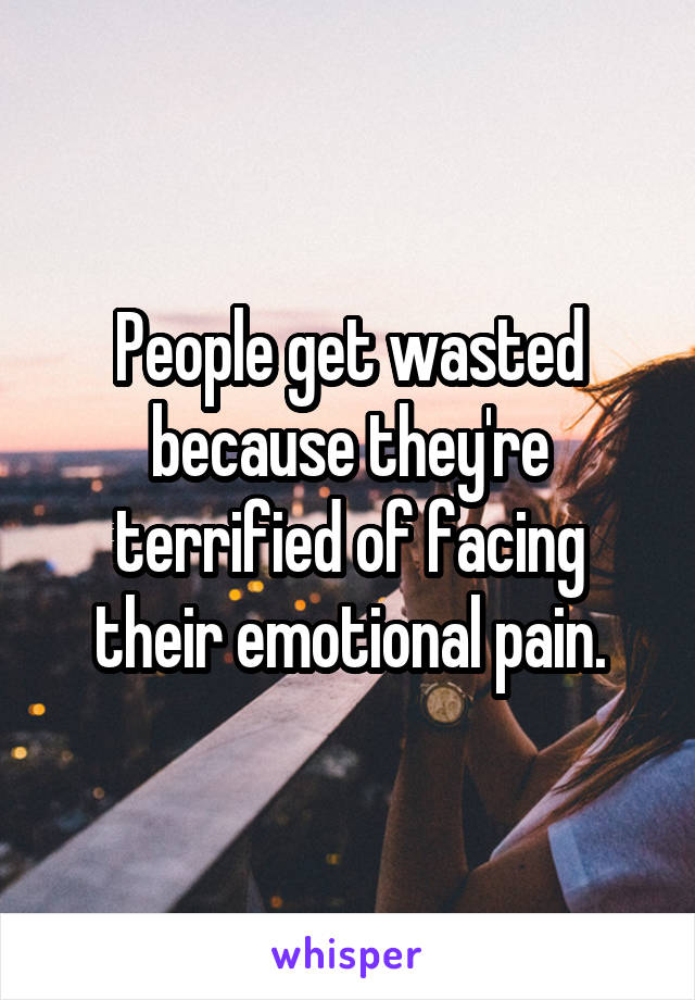 People get wasted because they're terrified of facing their emotional pain.