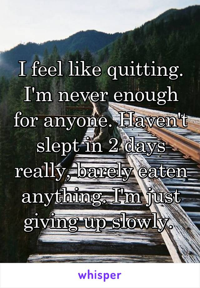 I feel like quitting. I'm never enough for anyone. Haven't slept in 2 days really, barely eaten anything. I'm just giving up slowly.