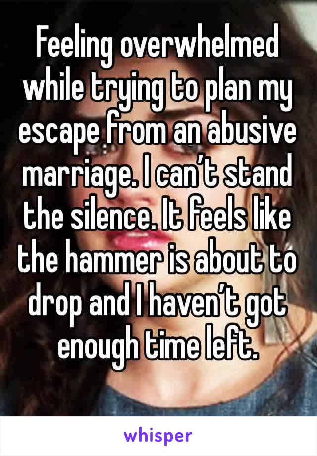 Feeling overwhelmed while trying to plan my escape from an abusive marriage. I can't stand the silence. It feels like the hammer is about to drop and I haven't got enough time left.
