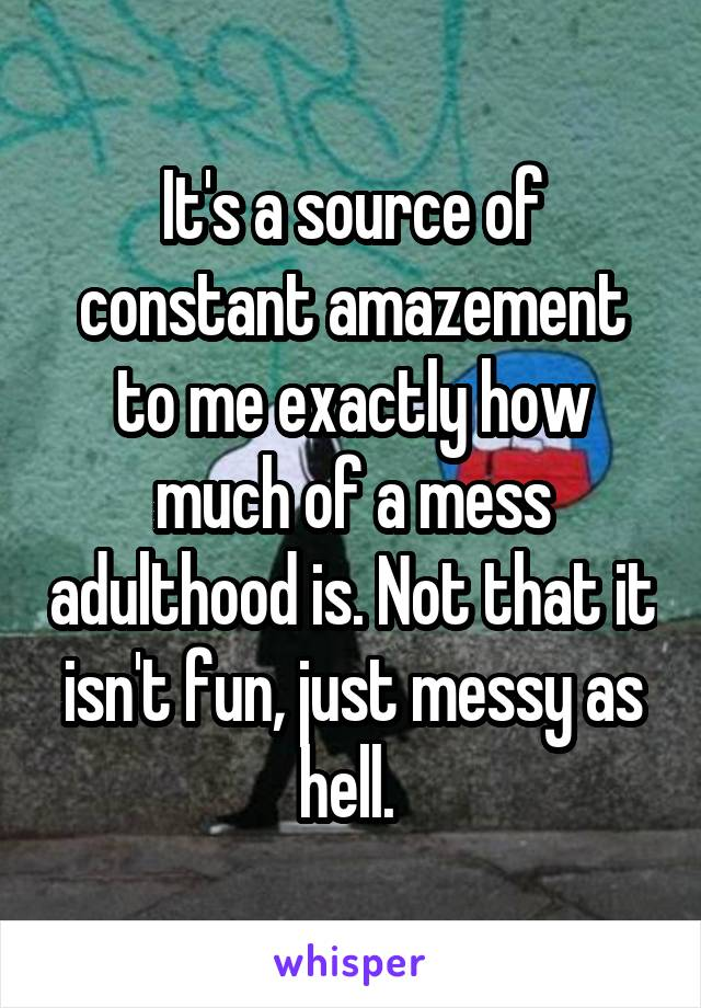 It's a source of constant amazement to me exactly how much of a mess adulthood is. Not that it isn't fun, just messy as hell.