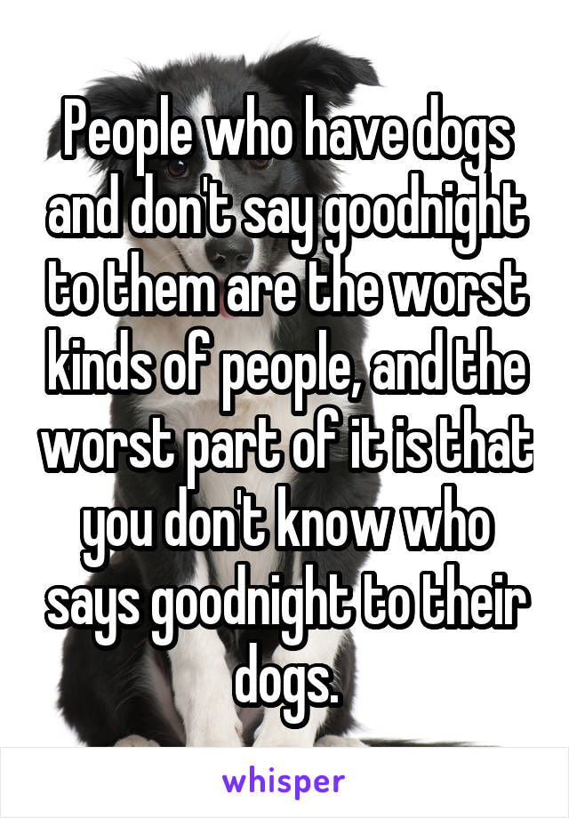 People who have dogs and don't say goodnight to them are the worst kinds of people, and the worst part of it is that you don't know who says goodnight to their dogs.