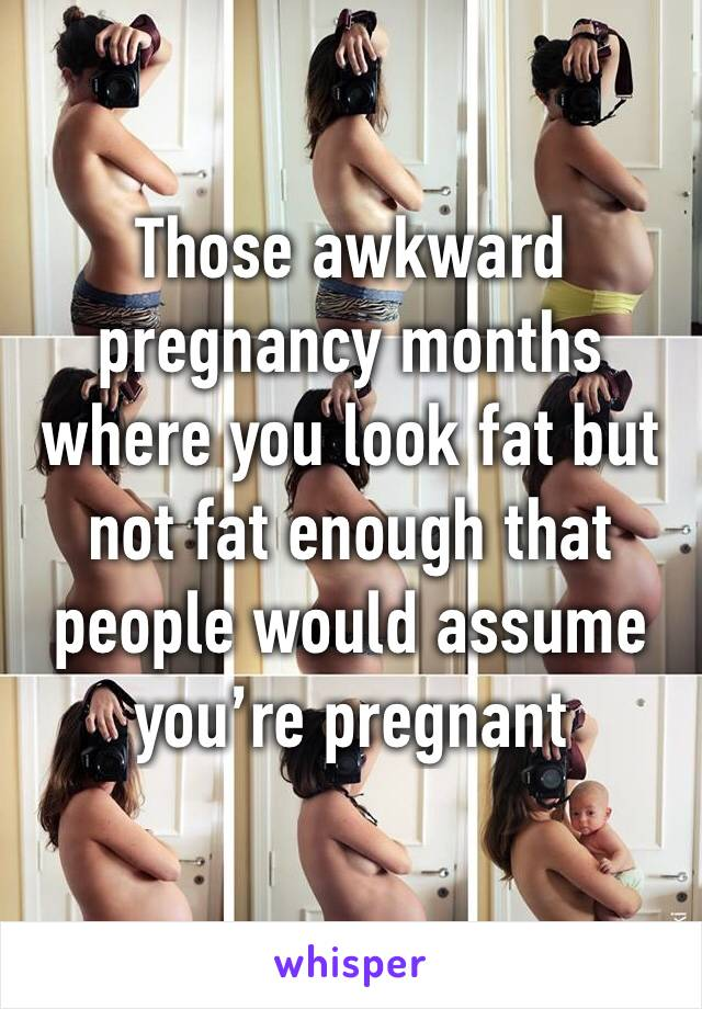 Those awkward pregnancy months where you look fat but not fat enough that people would assume you're pregnant
