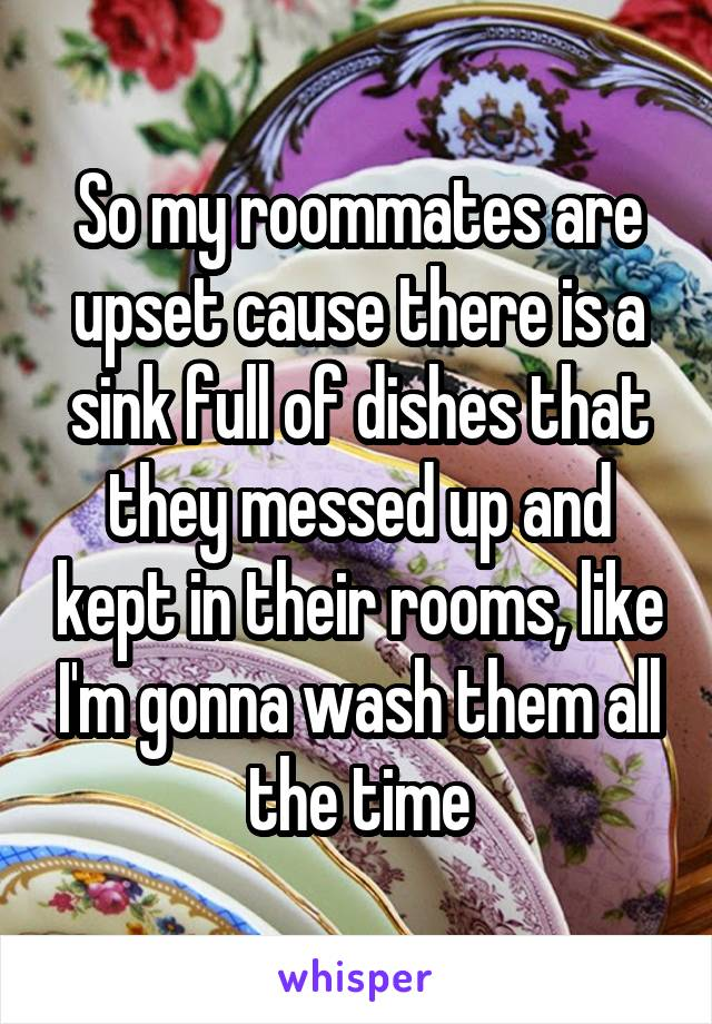 So my roommates are upset cause there is a sink full of dishes that they messed up and kept in their rooms, like I'm gonna wash them all the time