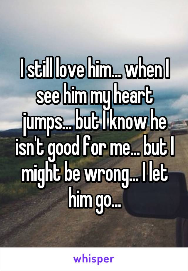 I still love him... when I see him my heart jumps... but I know he isn't good for me... but I might be wrong... I let him go...