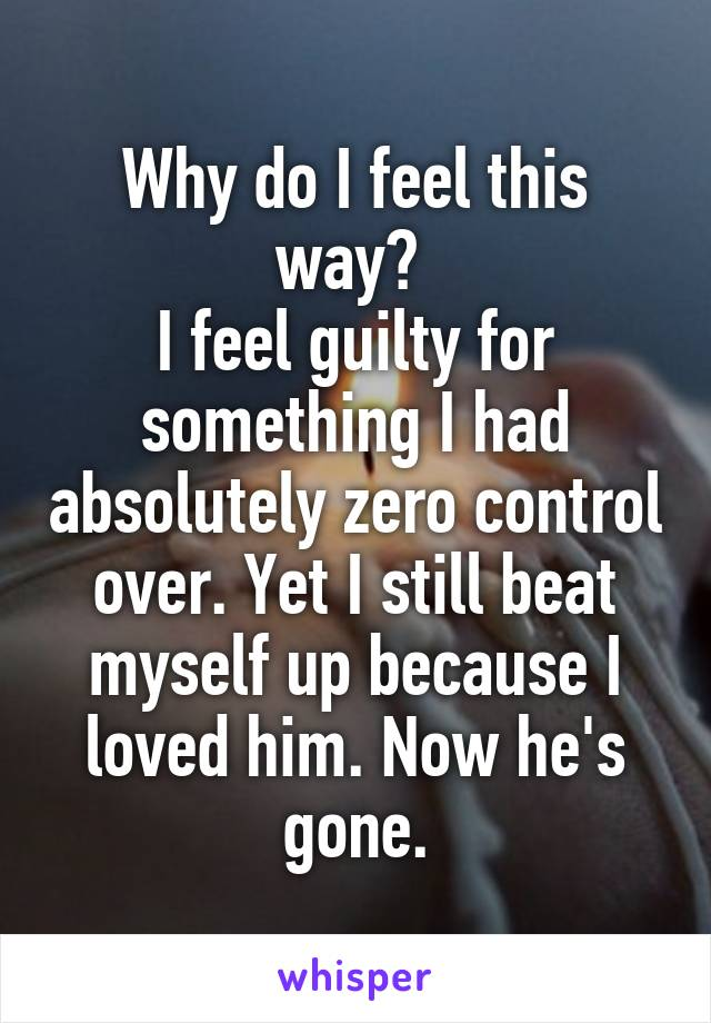 Why do I feel this way?  I feel guilty for something I had absolutely zero control over. Yet I still beat myself up because I loved him. Now he's gone.