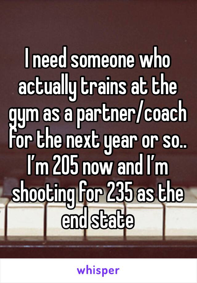 I need someone who actually trains at the gym as a partner/coach for the next year or so.. I'm 205 now and I'm shooting for 235 as the end state