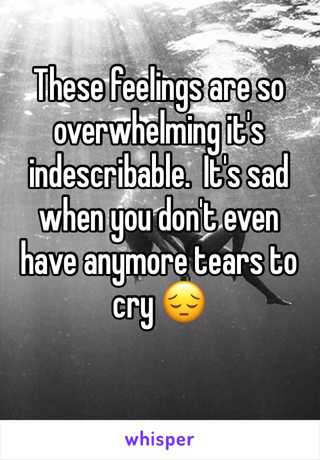These feelings are so overwhelming it's indescribable.  It's sad when you don't even have anymore tears to cry 😔