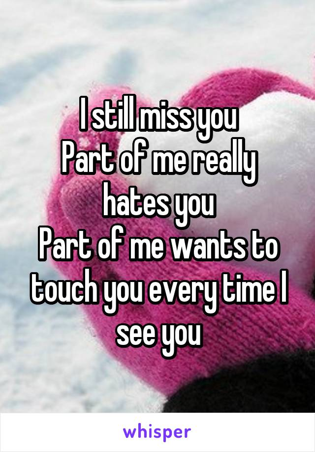 I still miss you Part of me really hates you Part of me wants to touch you every time I see you