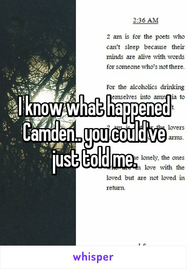 I know what happened Camden.. you could've just told me.