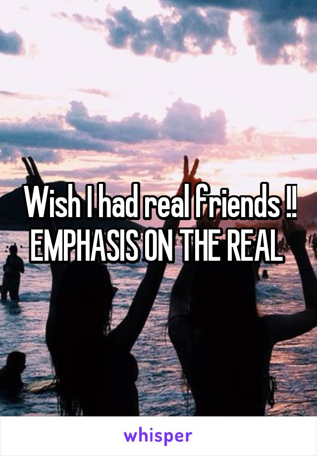 Wish I had real friends !! EMPHASIS ON THE REAL