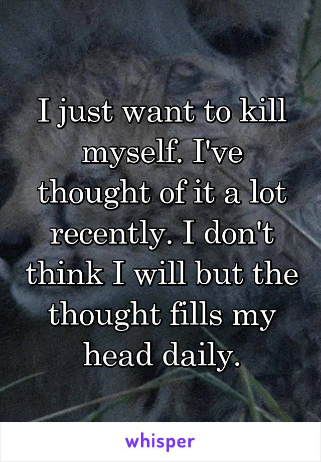 I just want to kill myself. I've thought of it a lot recently. I don't think I will but the thought fills my head daily.