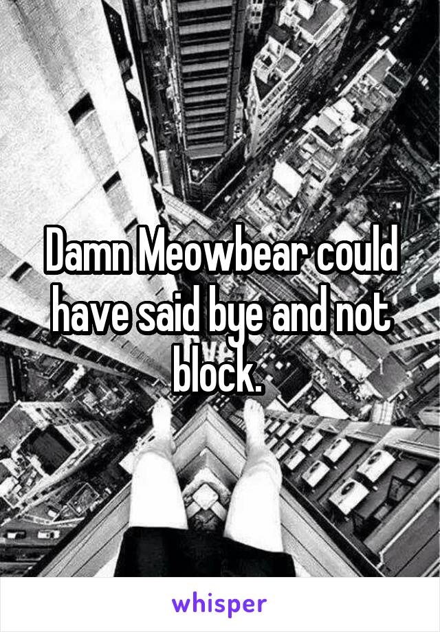 Damn Meowbear could have said bye and not block.
