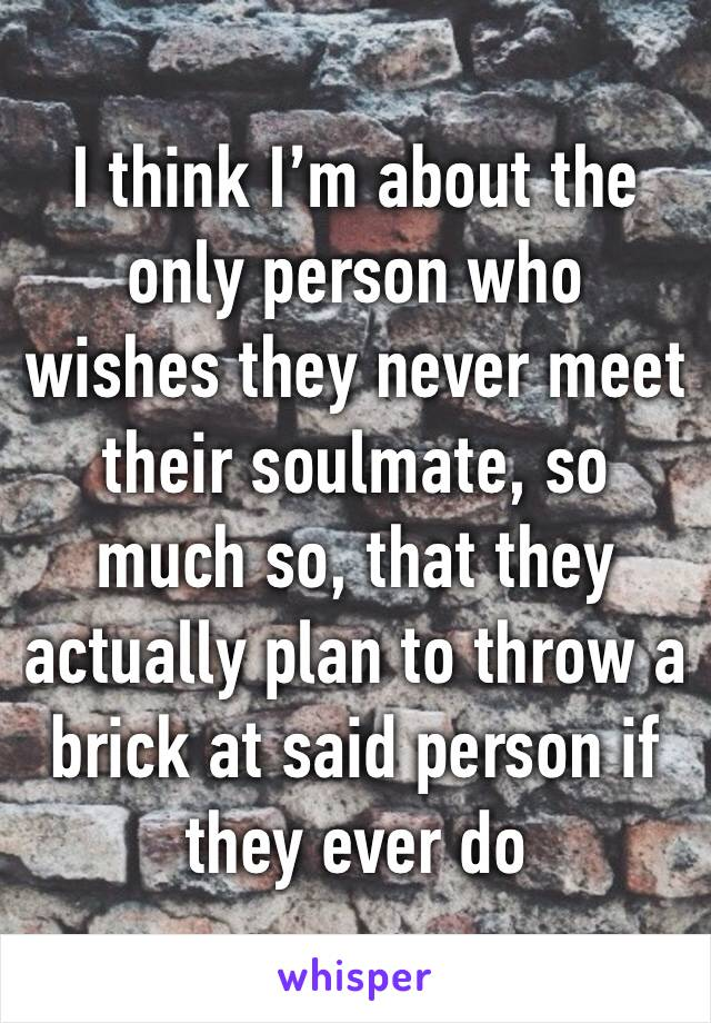 I think I'm about the only person who wishes they never meet their soulmate, so much so, that they actually plan to throw a brick at said person if they ever do