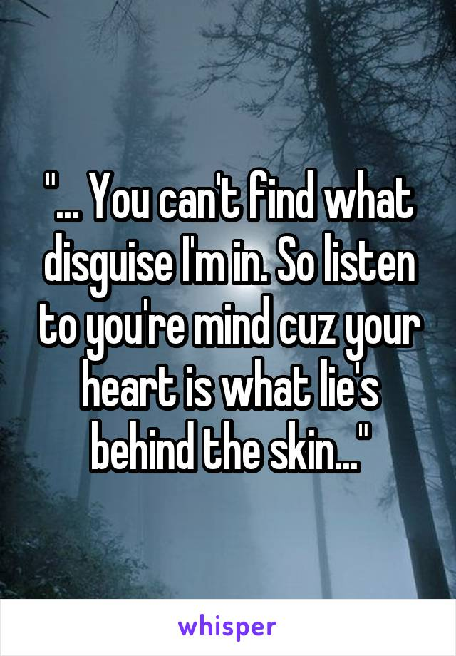 """... You can't find what disguise I'm in. So listen to you're mind cuz your heart is what lie's behind the skin..."""