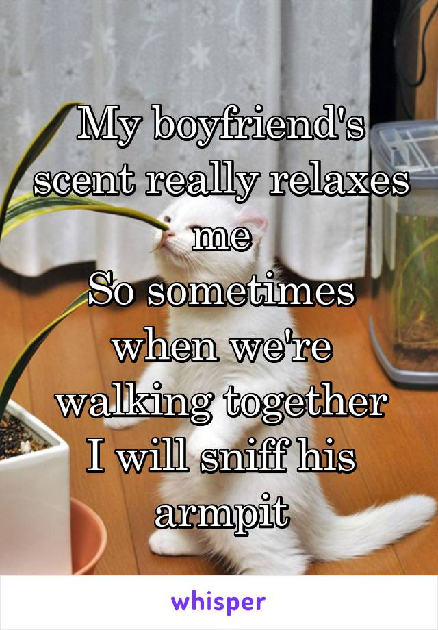 My boyfriend's scent really relaxes me So sometimes when we're walking together I will sniff his armpit