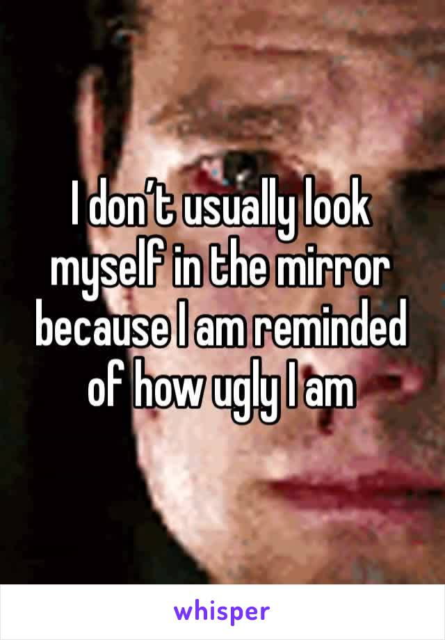 I don't usually look myself in the mirror because I am reminded of how ugly I am