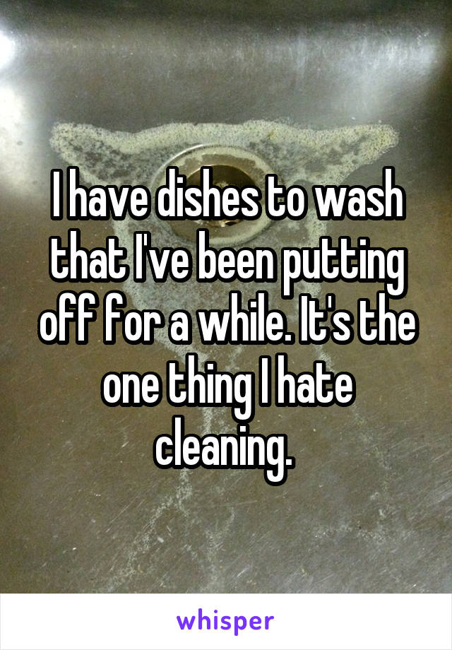 I have dishes to wash that I've been putting off for a while. It's the one thing I hate cleaning.