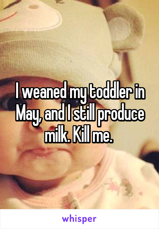 I weaned my toddler in May, and I still produce milk. Kill me.