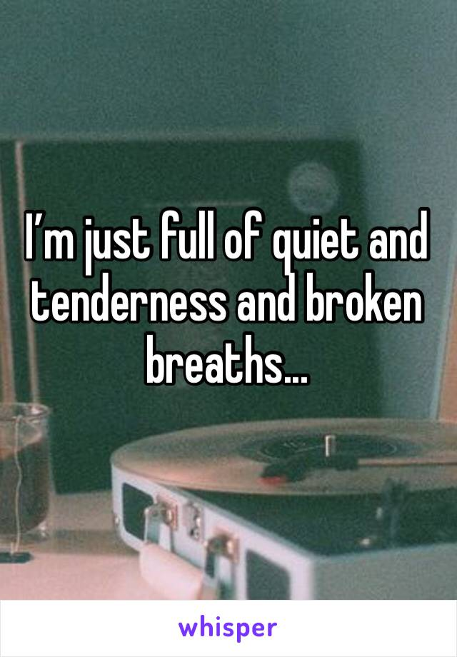 I'm just full of quiet and tenderness and broken breaths...