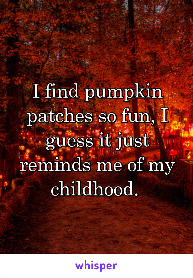 I find pumpkin patches so fun, I guess it just reminds me of my childhood.