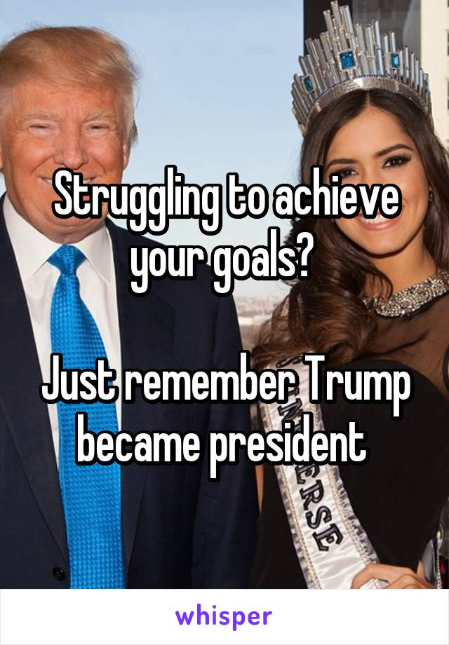 Struggling to achieve your goals?   Just remember Trump became president