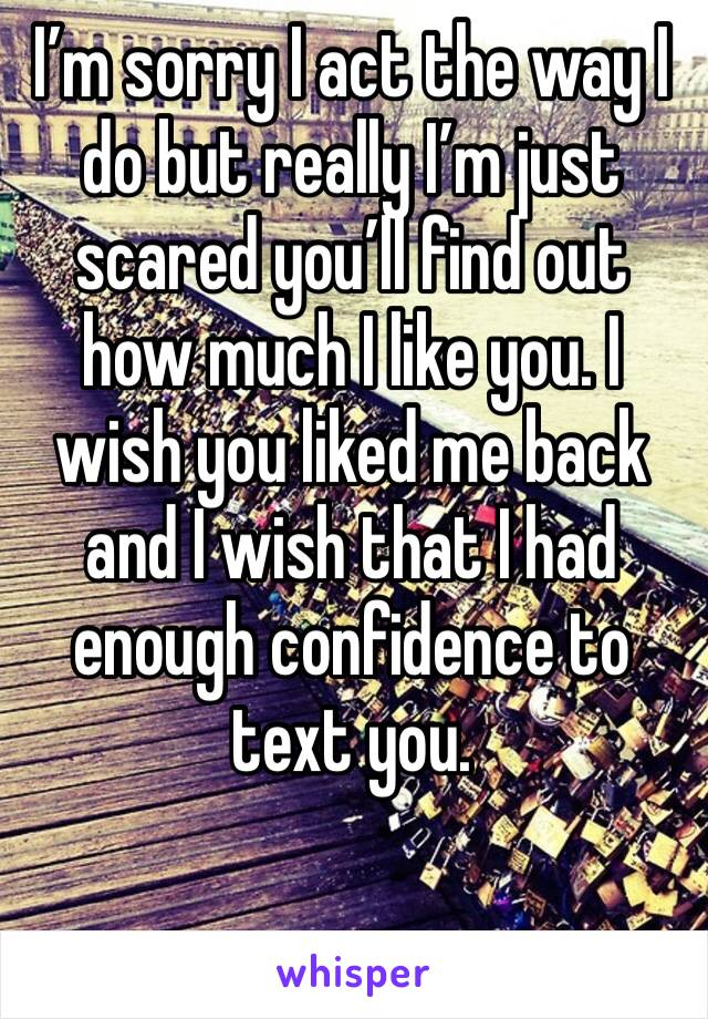 I'm sorry I act the way I do but really I'm just scared you'll find out how much I like you. I wish you liked me back and I wish that I had enough confidence to text you.