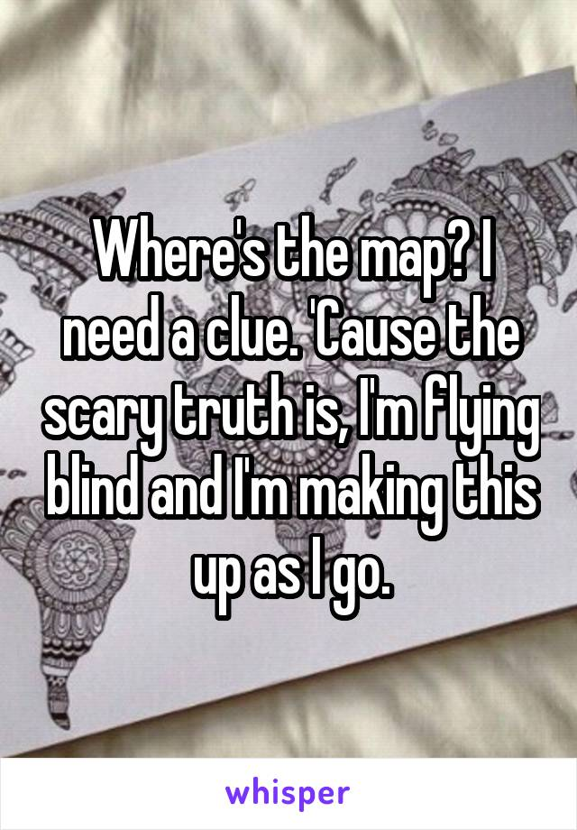 Where's the map? I need a clue. 'Cause the scary truth is, I'm flying blind and I'm making this up as I go.
