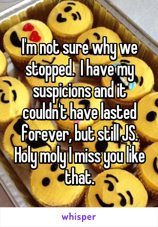 I'm not sure why we stopped.  I have my suspicions and it couldn't have lasted forever, but still JS. Holy moly I miss you like that.