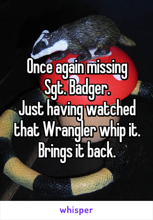 Once again missing Sgt. Badger. Just having watched that Wrangler whip it. Brings it back.