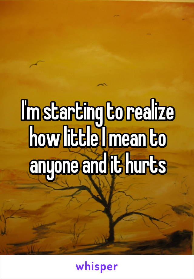 I'm starting to realize how little I mean to anyone and it hurts