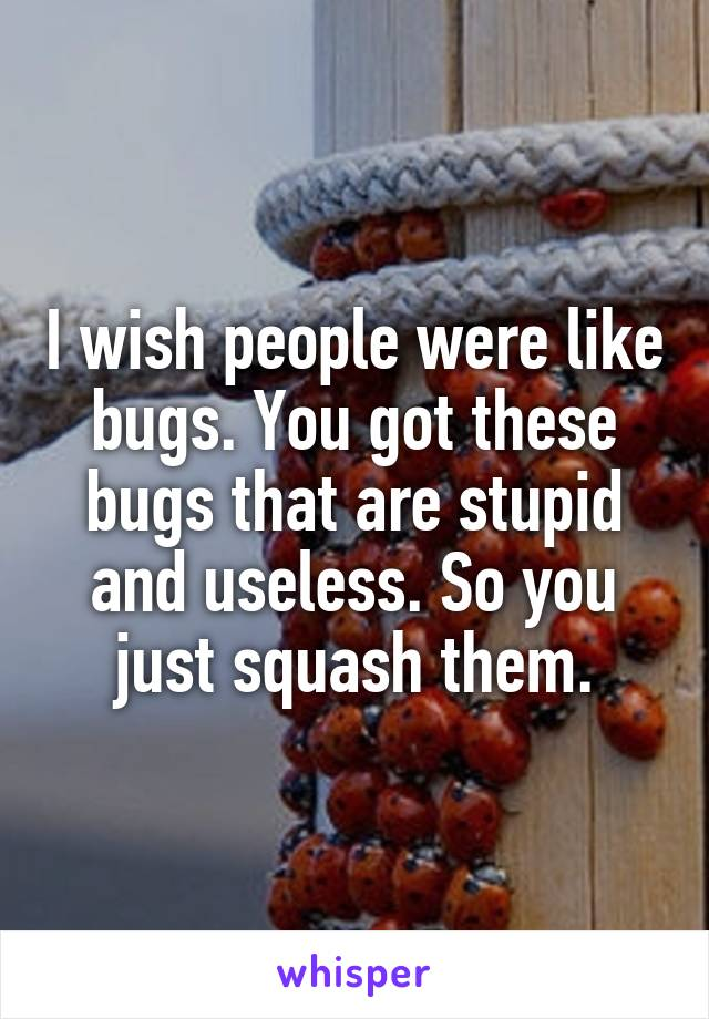 I wish people were like bugs. You got these bugs that are stupid and useless. So you just squash them.