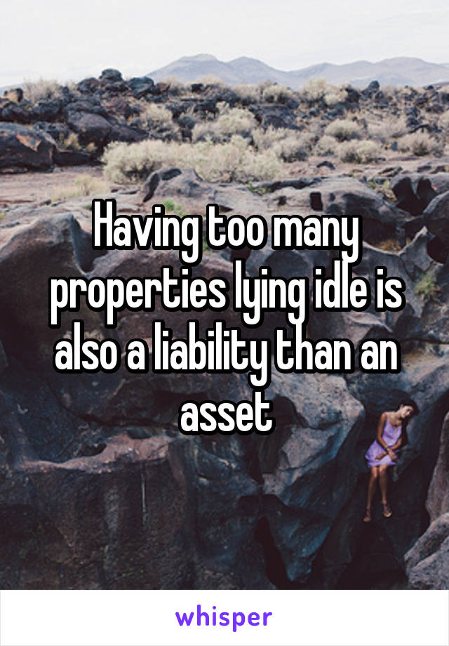 Having too many properties lying idle is also a liability than an asset