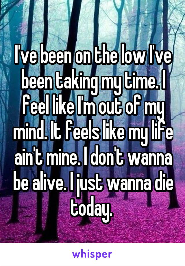 I've been on the low I've been taking my time. I feel like I'm out of my mind. It feels like my life ain't mine. I don't wanna be alive. I just wanna die today.