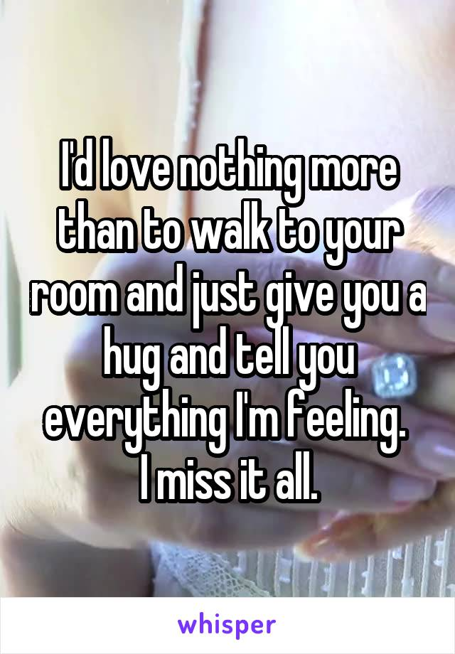 I'd love nothing more than to walk to your room and just give you a hug and tell you everything I'm feeling.  I miss it all.