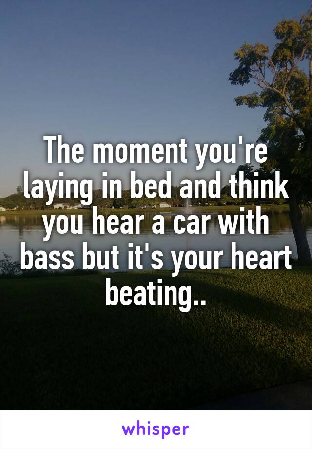 The moment you're laying in bed and think you hear a car with bass but it's your heart beating..