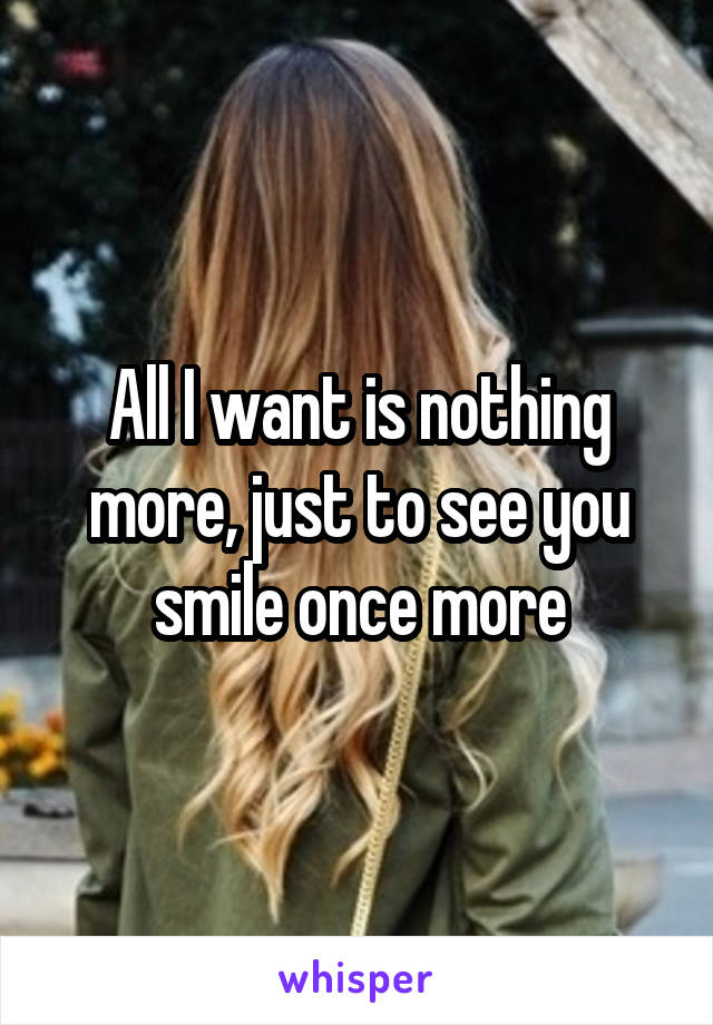 All I want is nothing more, just to see you smile once more