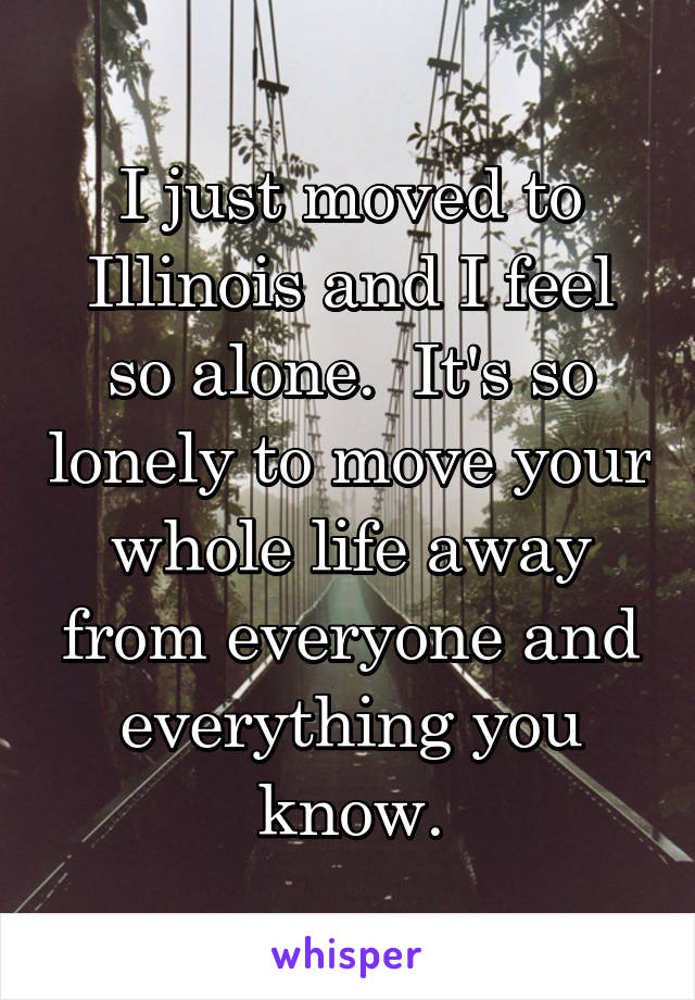 I just moved to Illinois and I feel so alone.  It's so lonely to move your whole life away from everyone and everything you know.