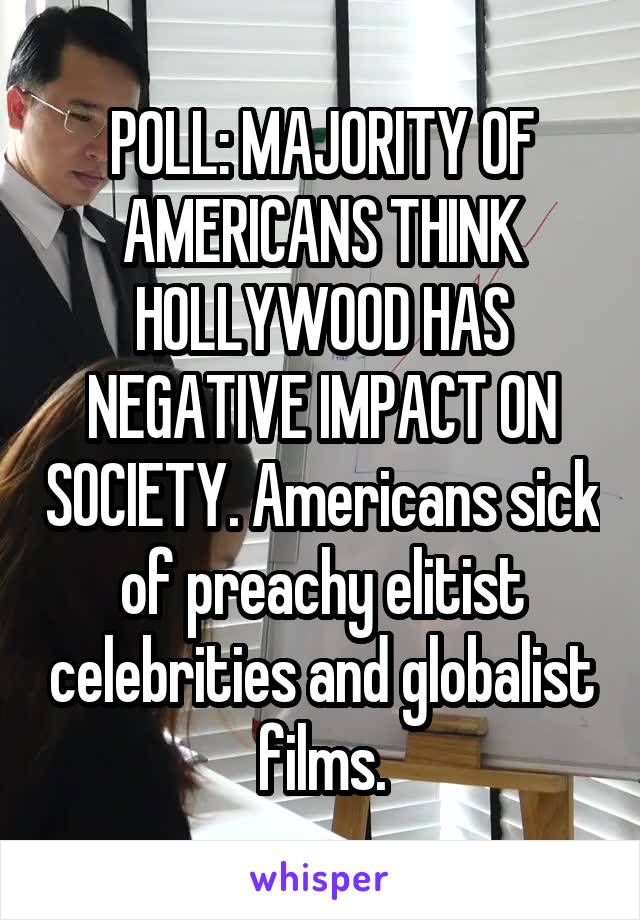 POLL: MAJORITY OF AMERICANS THINK HOLLYWOOD HAS NEGATIVE IMPACT ON SOCIETY. Americans sick of preachy elitist celebrities and globalist films.