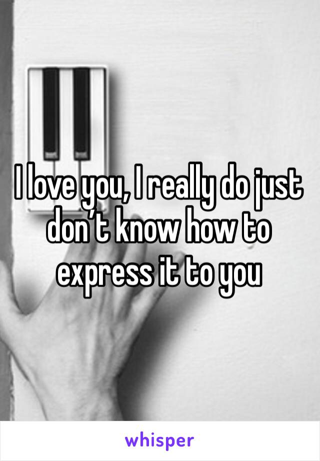 I love you, I really do just don't know how to express it to you