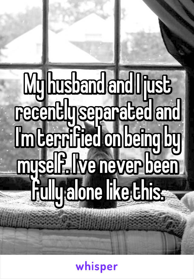 My husband and I just recently separated and I'm terrified on being by myself. I've never been fully alone like this.