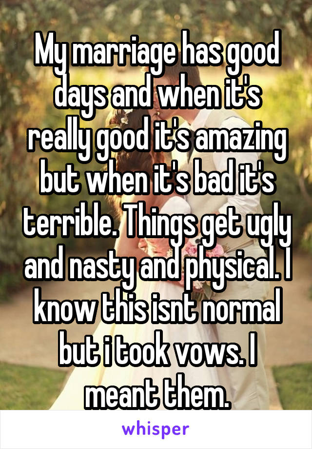 My marriage has good days and when it's really good it's amazing but when it's bad it's terrible. Things get ugly and nasty and physical. I know this isnt normal but i took vows. I meant them.
