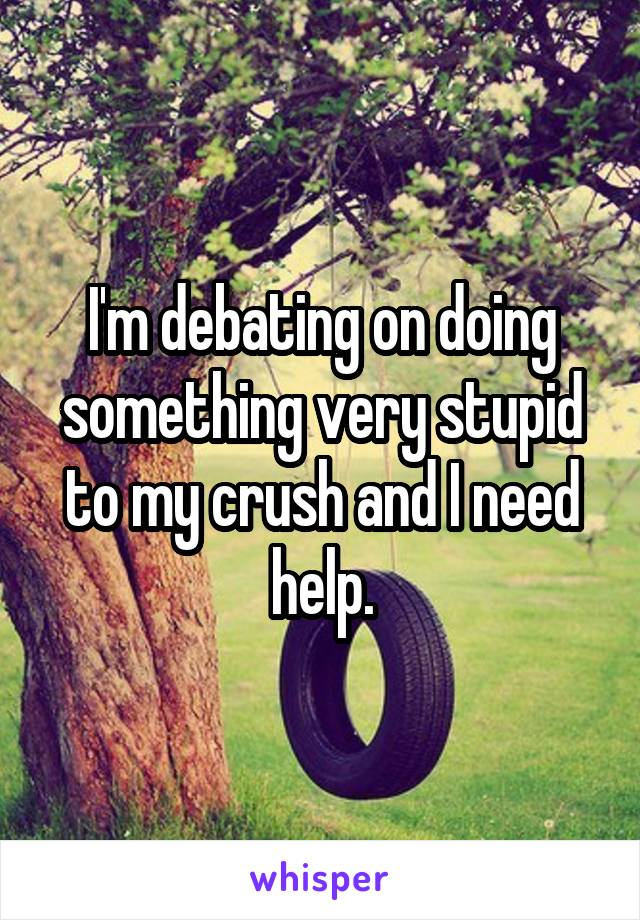 I'm debating on doing something very stupid to my crush and I need help.