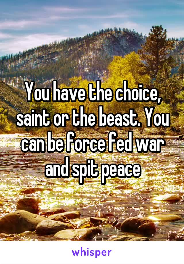 You have the choice, saint or the beast. You can be force fed war and spit peace