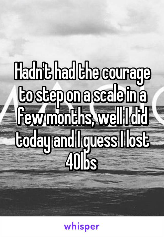 Hadn't had the courage to step on a scale in a few months, well I did today and I guess I lost 40lbs