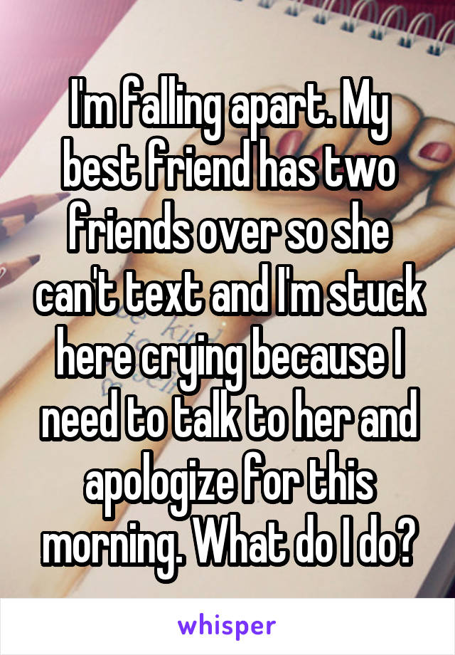 I'm falling apart. My best friend has two friends over so she can't text and I'm stuck here crying because I need to talk to her and apologize for this morning. What do I do?