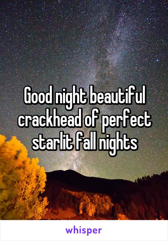 Good night beautiful crackhead of perfect starlit fall nights