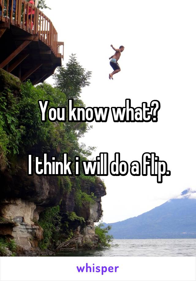 You know what?  I think i will do a flip.