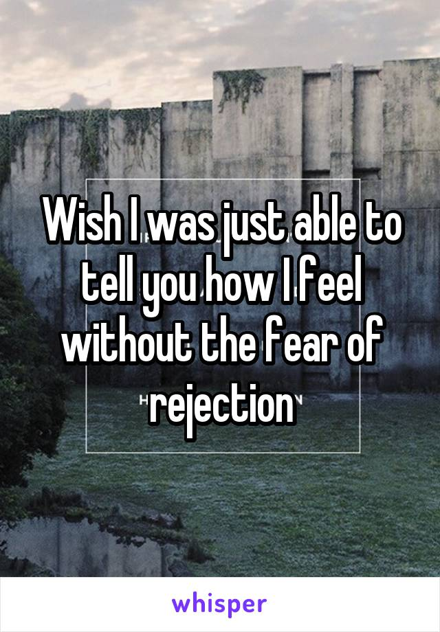 Wish I was just able to tell you how I feel without the fear of rejection